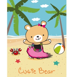 cute bear doodle in the beach vector image vector image