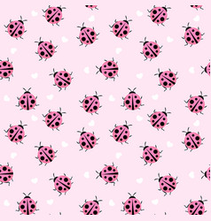 Cute ladybug seamless pattern background vector