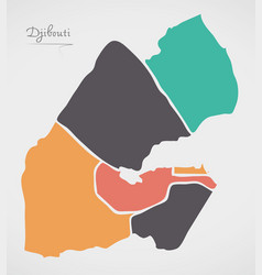 djibouti map with states and modern round shapes vector image