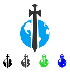 Earth military protection flat icon vector