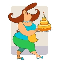 Fat woman with cake vector image