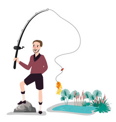 Flat fisherman with fish holding fishing rod vector