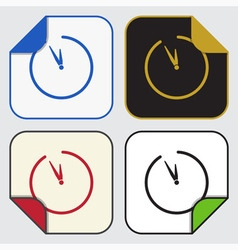 Four square sticky icons - last minute clock vector