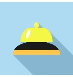 Golden reception bell icon flat style vector
