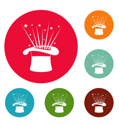 Hat and firework icons circle set vector