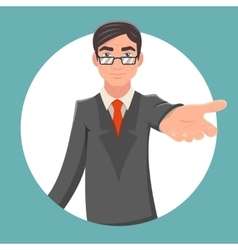 Invitation Cooperation Businessman Character vector image vector image