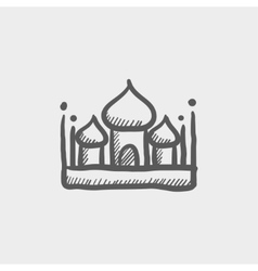 Islamic mosque sketch icon vector image