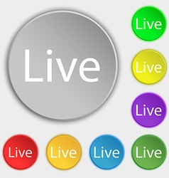 Live sign icon symbols on eight flat buttons vector
