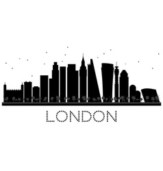 London city skyline black and white silhouette vector