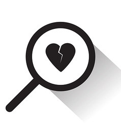 Magnifying glass with broken heart icon vector