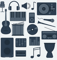 Music instruments and gadgets big icon set vector