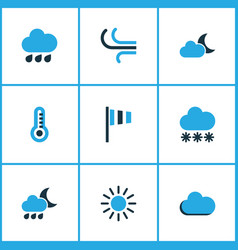 Nature colored icons set collection of rainfall vector