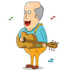 Oldman with guitar vector image vector image