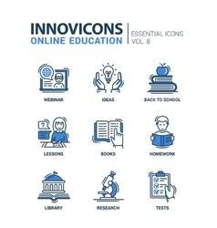 Online education line design icons set vector image