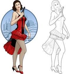 Retro brunette girl in red and black with a gun vector image