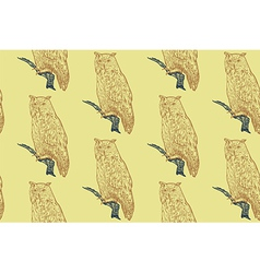 Seamless pattern of siberian eagle owl background vector