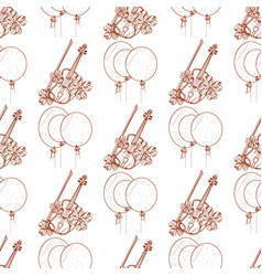 Seamless pattern with violin and balloons vector