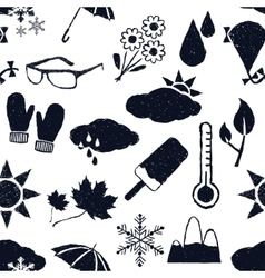 Seamless weather doodle pattern vector