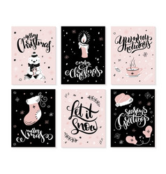set of christmas greeting cards with hand vector image vector image