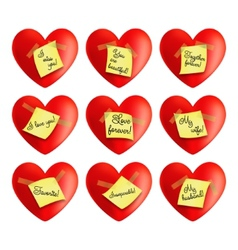 Set of hearts with inscriptions vector image vector image