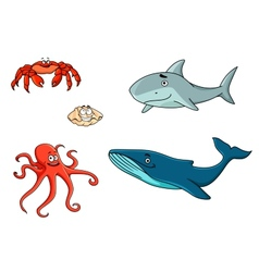 Set of marine sea life animals vector image vector image