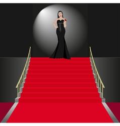 Show women in black dress vector