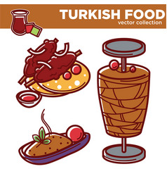 Turkish food collection of tasty nutritios vector