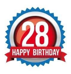 Twenty eight years happy birthday badge ribbon vector