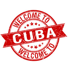 Welcome to cuba red round ribbon stamp vector