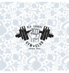 Seamless pattern and emblem gym club vector