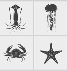 Sea Creature Black Icon vector image