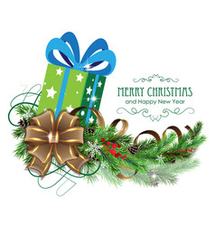 Green christmas present with bow and fir branch vector