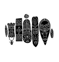 tribal mask ethnic set sketch for your design vector image