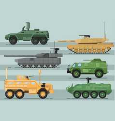 Modern military technics isolated set vector
