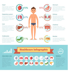 Healthcare infographic elements with human vector