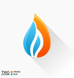 symbol fire Blue and orange flame glass icon with vector image