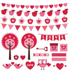 Valentines day design elements set vector
