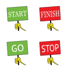 Start and finish signboard color vector