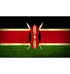Flags kenya with dirty paper texture vector