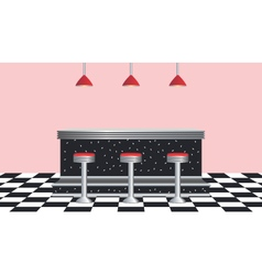 A retro style diner with counter and stools vector
