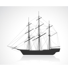 Black old sailing ship silhouette vector