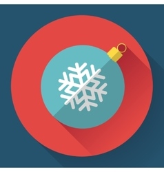 Red christmas ball decoration icon vector image