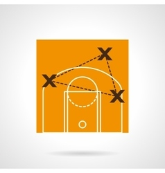 Basketball strategy flat color icon vector