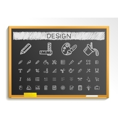 Design tools hand drawing line icons chalk sketch vector