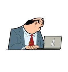 Businessman boss behind the laptop vector