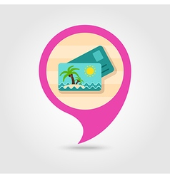 Card with palm pin map icon summer vacation vector