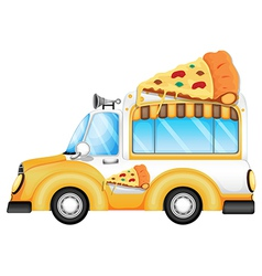A yellow vehicle selling pizza vector image vector image