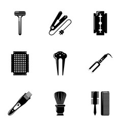 Beauty salon stuff icons set simple style vector