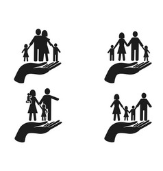 black hand holding family icons set vector image vector image