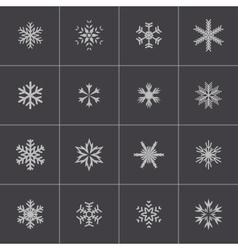 black snowflake icons set vector image